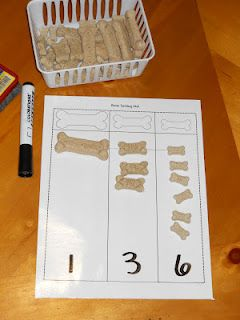 Milk bone sorting mat and activities for a free download