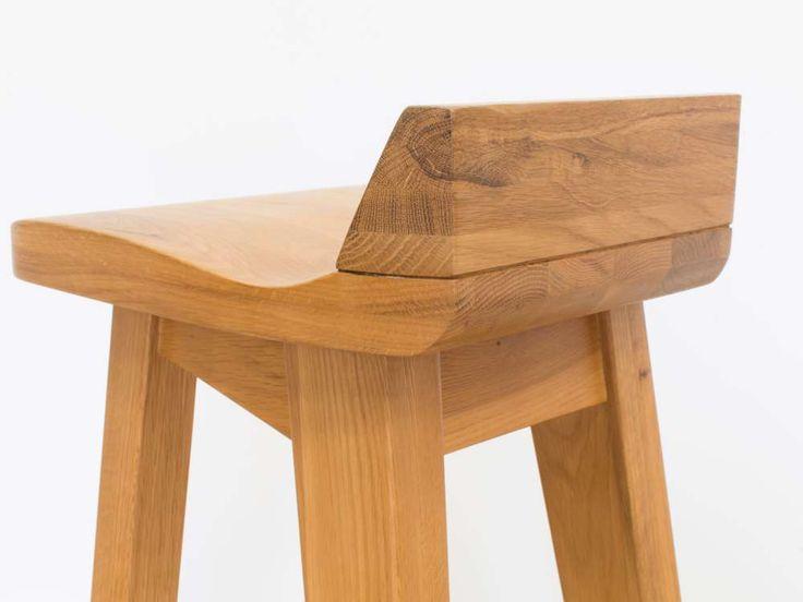 Wave Bar Stool - Contemporary Modern Solid Oak Bar Stool