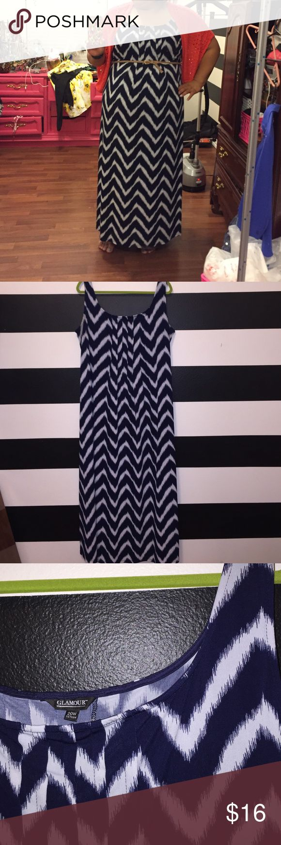 Plus size chevron maxi dress Size 20W--navy blue and white chevron dress, in great condition, sleeveless, Please note that cardigan and belt not included, cardigan is for sale on a separate listing Glamour & Co. Dresses Maxi