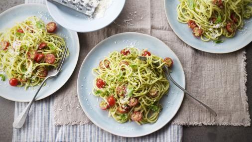 BBC Food - Recipes - Pasta with almond, basil and pecorino pesto (pesto alla Trapanese)