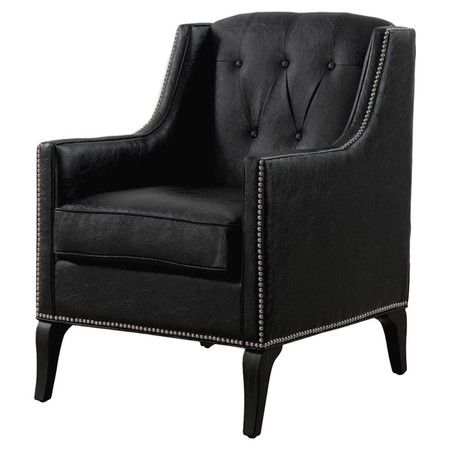 Roxbury Antique Black Leather Chair   Overstock™ Shopping   Great Deals On  Living Room Chairs