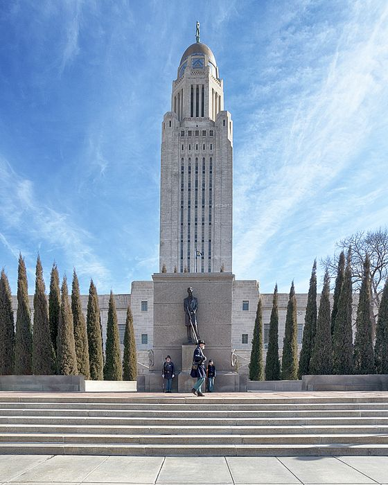 Civil War reenactors hold a vigil in front of the Abraham Lincoln statue at the Nebraska State Capitol in honor of his birthday, February 12, 1809. - This image is available as Wall Art & Home Decor for your Interior Design needs. Wall Art available: framed, on metal, canvas, or wood. Decor & Gift Ideas include: shower curtains, duvet covers, throw pillows, towels, totes, phone cases, t-shirts & more. ©Susan Rissi Tregoning Fine Art Photography. Visit --> susantregoning.com