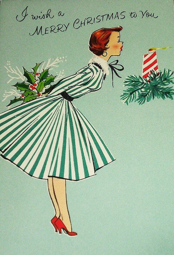 Vintage christmas card wonderful striped dress and red heels woman
