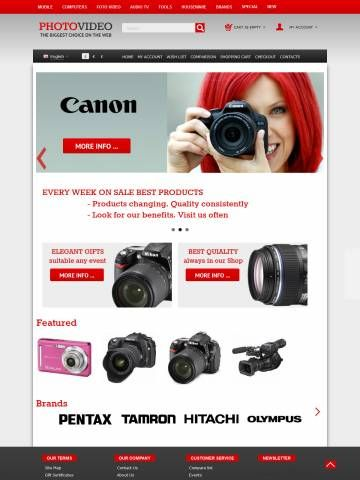 OpenCart Theme Template Compatible OpenCart 1.5.6 version     For desktop, planshet, mobile     Choice of 3.6 Million Colors     Modern Technology HTML5 CSS3 Bootstrap     28 Content Selector  Template properties:  Opencart Responsive Mega Color Template oc000066 is specially designed for Photo and Video Cameras goods Store