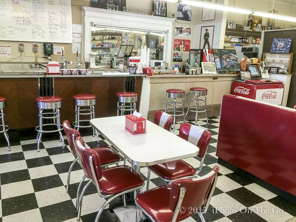Old-fashioned soda counter at Lovelace Drug Store in Ocean Springs, MS | Bunkycooks
