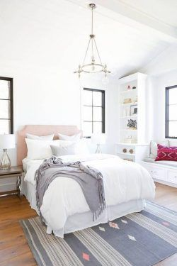 Blush Pink Headboard with GrayThrow Blanket – Transitional – Bedroom
