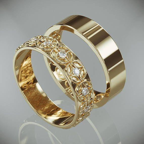 Alianza de oro de 14 quilates con flor celta engastada con diamantes   Alianzas de boda de flores celtas de oro de 14 quilates para él y ella con diamantes   – Ringe