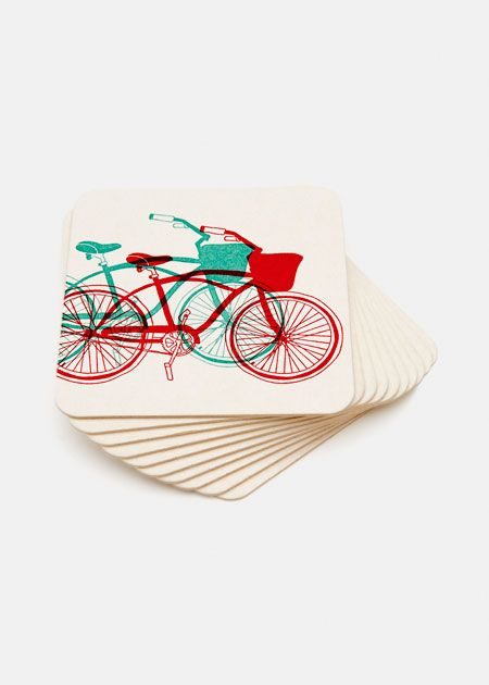 Bicycle coasters for your next BBQ! Recycled Paper Coasters Dad will love. #gifts #fathersday #fordad