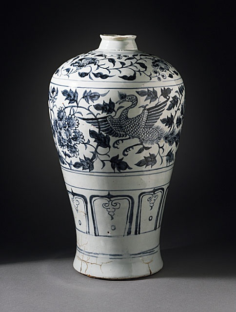 Prunus Jar (Meiping) with Pair of Peafowls in Floral Scrolls, late Yuan dynasty, 1340-1368  Ceramic; Porcelain, Wheel-thrown porcelain with blue painted decoration under clear glaze, Height: 18 1/2 in. (46.99 cm)  Gift of Carl Holmes (58.49.15). LACMA