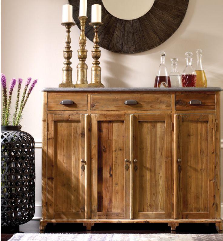 Gorgeous Hutch of reclaimed wood.  (http://www.zinhome.com/bluestone-top-tall-sideboard/)