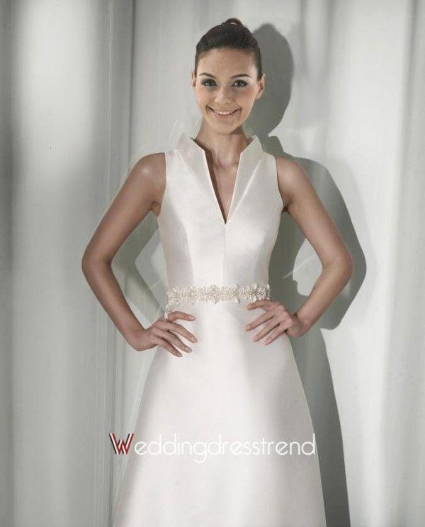 Beautiful A-Line High-neck Floor-Length Beaded Chapel Wedding Dress - Cheap Wedding Dresses Wholesale and Retail Online