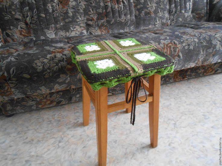 Чехол на табурет - чехол вязаный, сидушка на табурет, сидушка на стул
