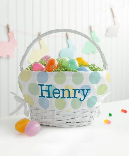 Personalized Planet White & Blue Polka Dots Personalized Easter Basket | zulily