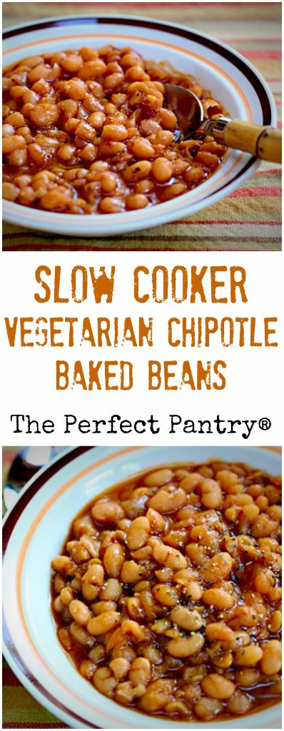 Slow cooker vegetarian chipotle baked beans, a good version of those canned beans you loved as a child.