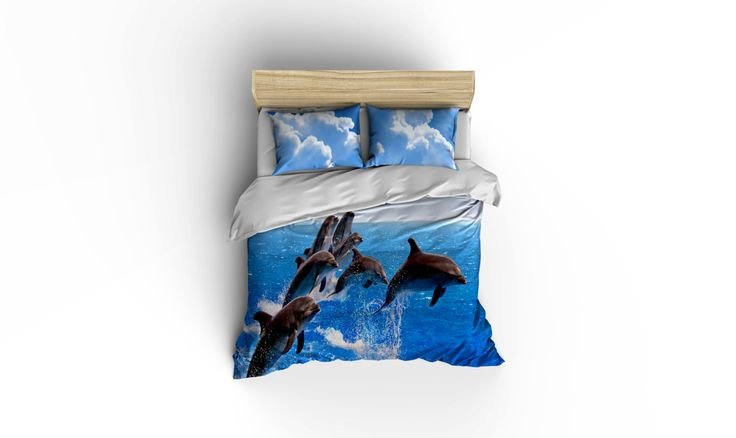 Dolphins at play duvet covers, home decor, bedding, comforter covers, bedroom decor,graphic print bedding, Dolphins comforter cover. by BigWaveClothingCo on Etsy