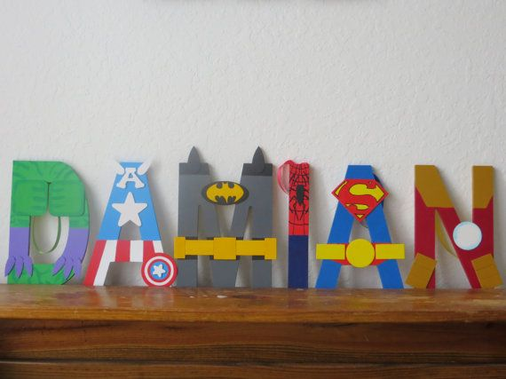 I would love this for Liam's bedroom door!!! :-) The superman, spiderman, batman, and any other one! :-) Best Seller Superhero Letter Art by TheLetterBug on Etsy, $10.00