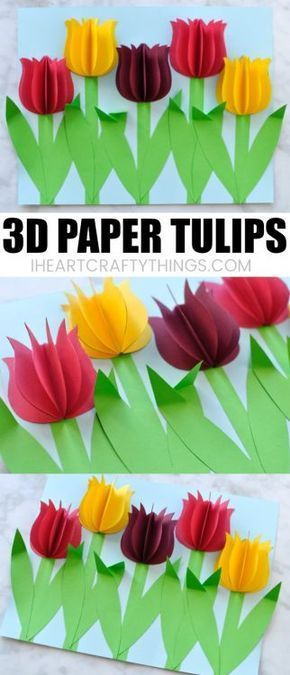 This colorful paper tulip flower craft makes a great spring kids craft or spring flower craft for kids. It also makes a great Mother's Day craft for kids. This pretty flower craft is easy to make and you will love how the 3D paper tulips and folded stems pop off the page.