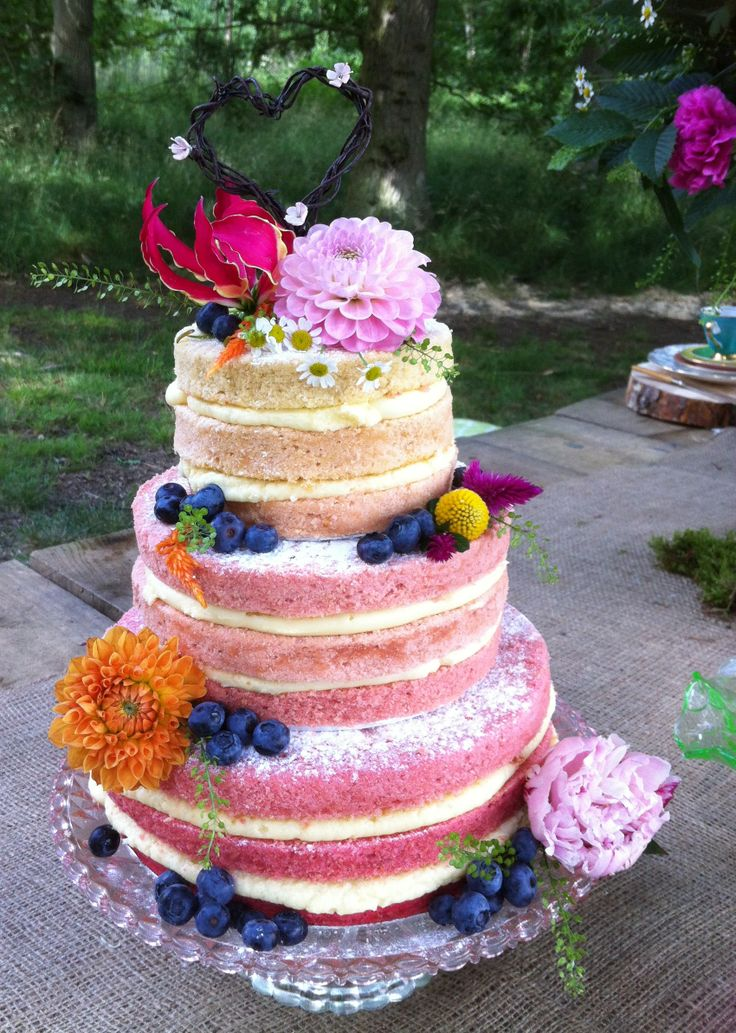 Ombre naked cake, pretty in pink.  www.choosecake.co.uk