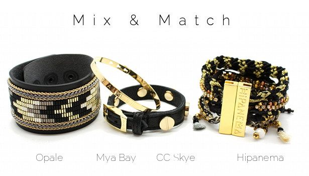Mix & Match www.lilishopping avec une manchette en cuir Opale, un jonc gravé plaqué or Mya Bay, un bracelet CC Skye et la manchette Onyx Hipanema
