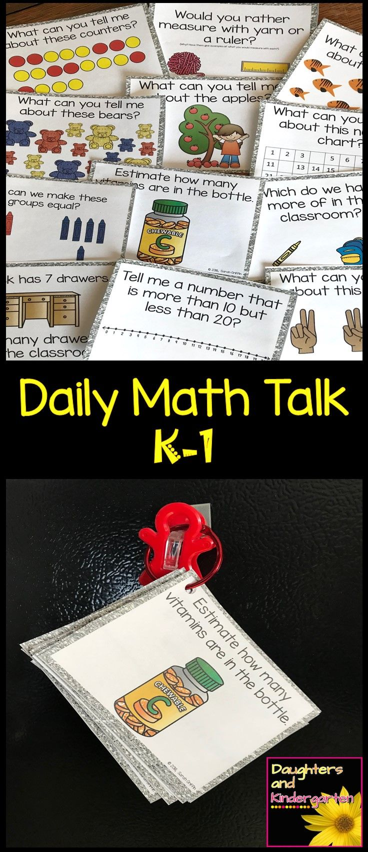 Daily Math Talk Cards for Kindergarten and 1st Grade.