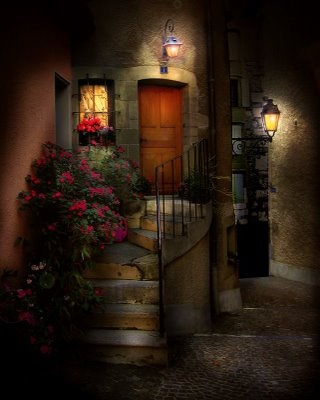 This is very romantic.....I didn't know if I should pin it under doorways or stairs? Anyway, I'd love an entrance like this one. ;)