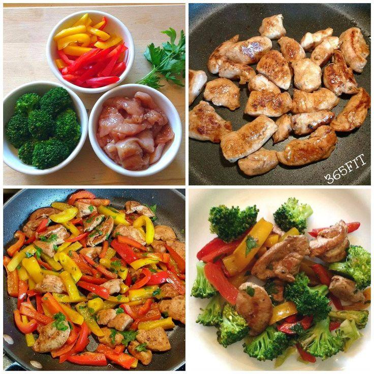 Saltado de Pollo con pimientos de colores y brócoli. No comas menos, come mejor. https://www.facebook.com/Studio365FIT/