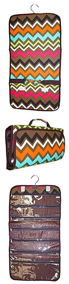 N Gil Bags Wholesale. N Gil Brown Multicolor Chevron Tri-fold Hanging Jewelry Organizer Bag.  #n #gil #bags #wholesale #ngil #gilbags #bagswholesale