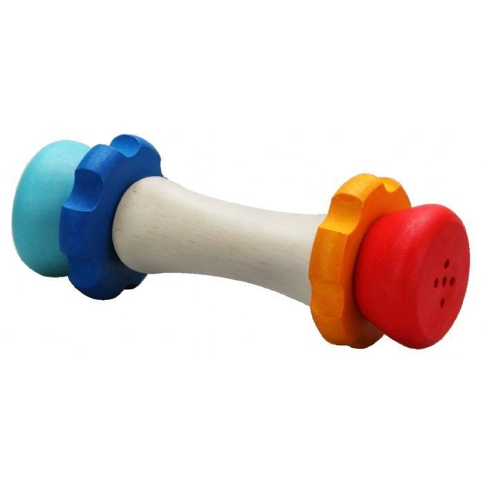 WOODEN CLUTCHING TOY  This Clutch Toy is colourful, sturdy and perfect for little hands. It has two bells inside which makes a pleasant sound for your little human. Blue on one end and red at the other. Does not come as a set of 2.  Made from beechwood with non-toxic, water based stain.