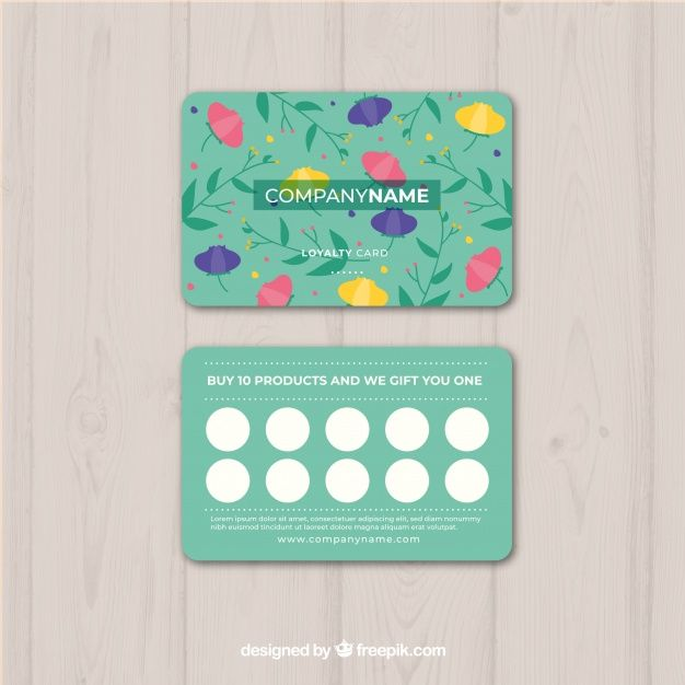 Download Floral Loyalty Card Template For Free Loyalty Card Template Loyalty Card Design Loyalty Card