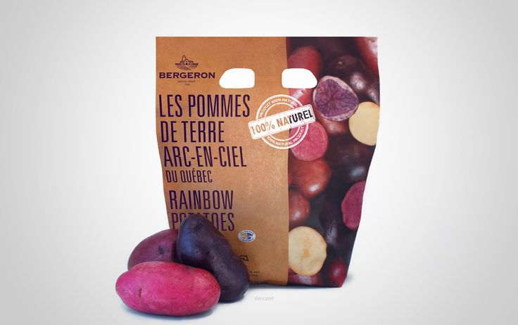 Design d'emballage pour les pommes de terre arc-en-ciel des fermes Bergeron.