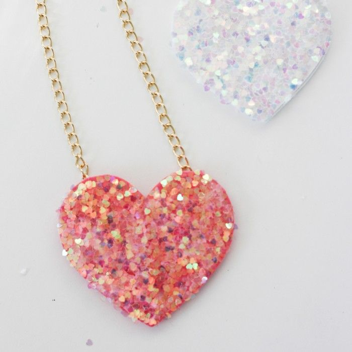 DIY Glitter Heart Necklace by The Allison Show  | Cool Mom PIcks