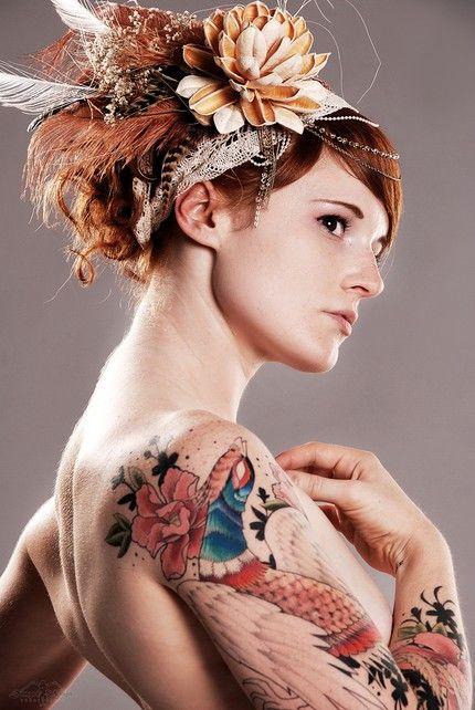 #favoriteFyeahtattoo Com, Female Tattoo, Modern Fashion, Red Hair, Tattoo Inspiration, Tattoo Art, Hair Accessories, Hair Ornaments, Peacocks Tattoo