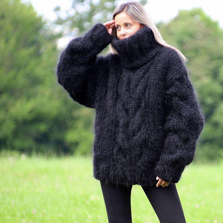 10 Strands Black Hand Knitted Mohair Sweater Handmade by EXTRAVAGANTZA Size L #Extravagantza #Turtleneck