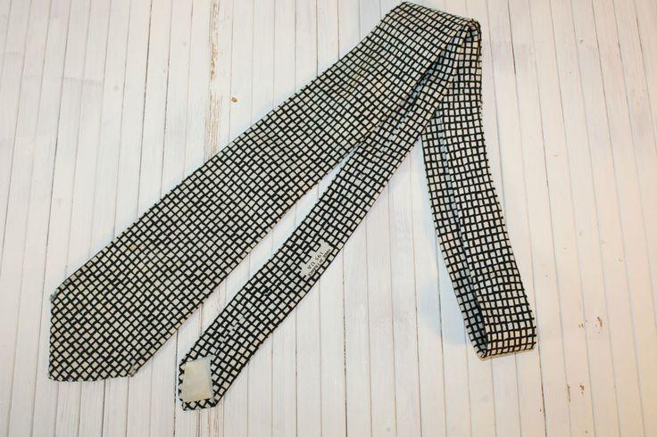DAPPER Vintage HERMES 100% Silk Ivory and Black Windowpane Printed Neck Tie #HERMES #NeckTie
