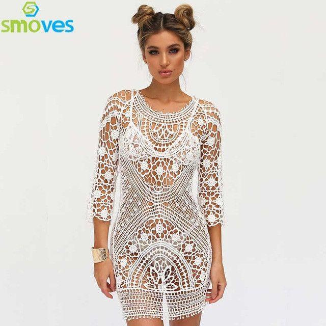 Smoves See Through Hollow Out Embroidery Boho Lace Crochet 3/4 Sleeve Women Floral Mini Dress Sundress Beachwear Beach Day Dress