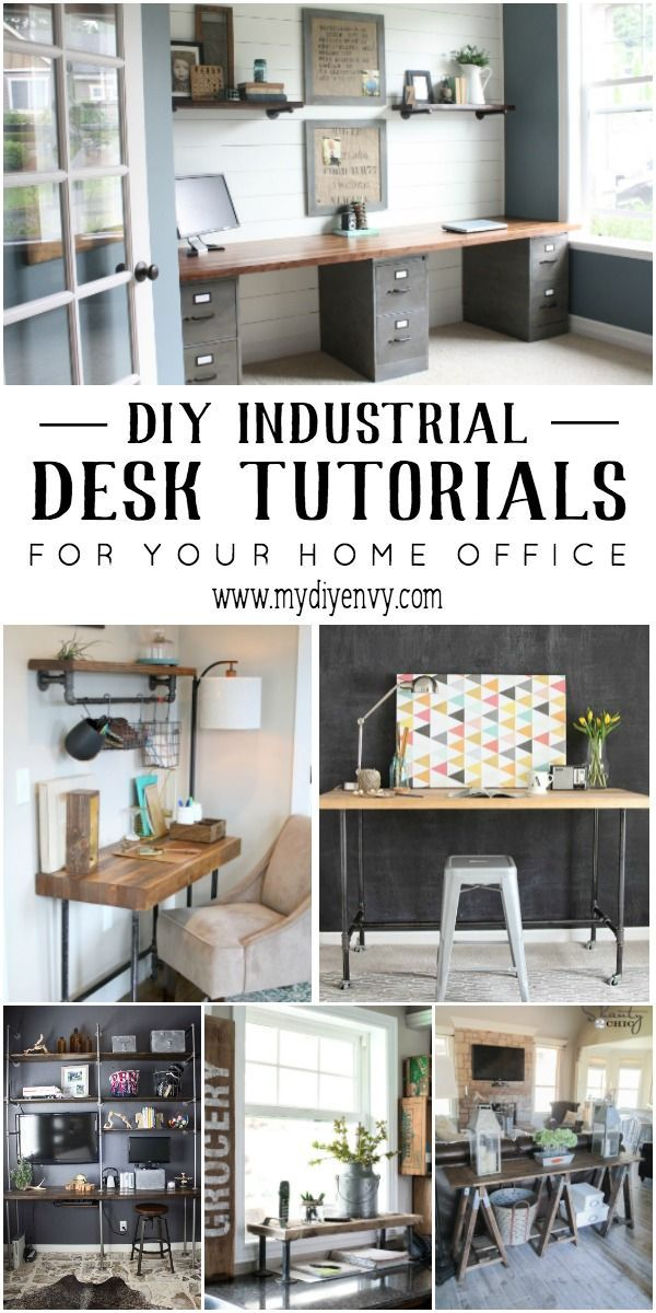 DIY Industrial Desk Tutorials for your Home Office. Great for adding a tough of industrial farmhouse decor. | http://www.mydiyenvy.com