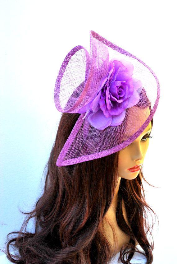 Purple Fascinator Tea Party Hat Church Hat by QueenSugarBee