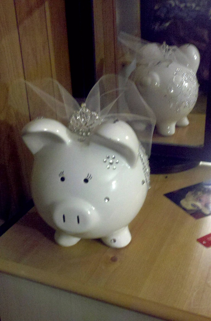 my mom made one similar to this for me and a groom piggy bank for