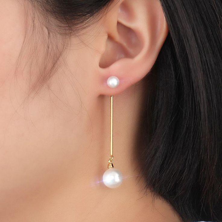 Vnox Long Stainless Steel Teardrop Pearl Jewelry Earrings //Price: $10.95 & FREE Shipping //     #stylish