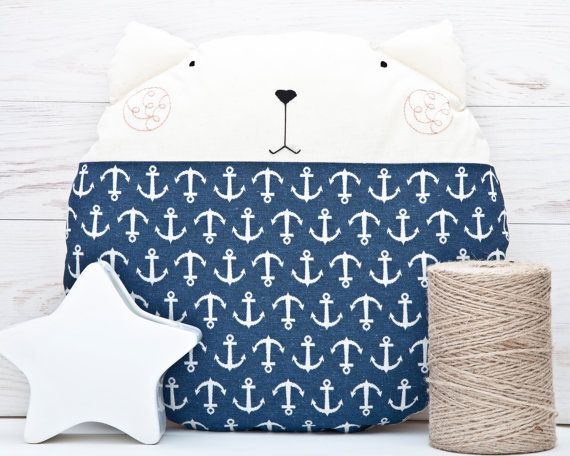 Nautical Nursery Decor Blue Cat Pillow Navy Cushion by JuliaWine