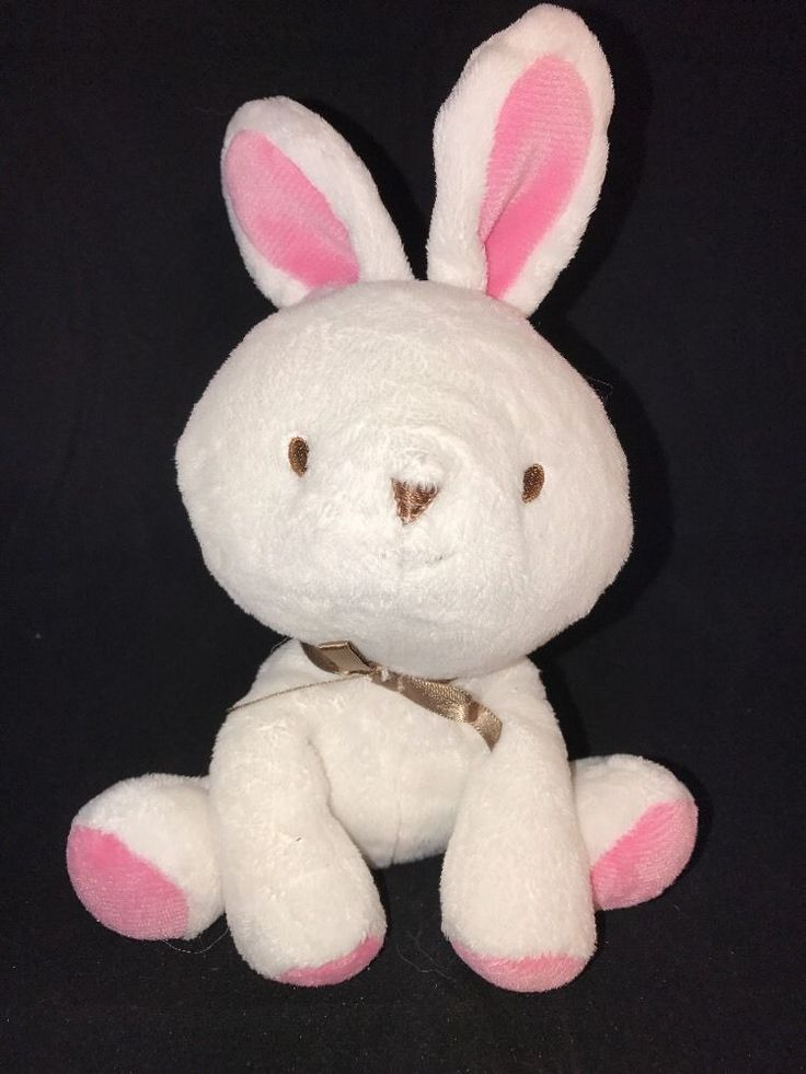 Carters Child Of Mine White Bunny Plush Pink Feet Ear Brown Bow Baby Toy Carter'  | eBay