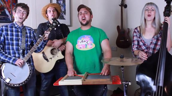 "You may have some reservations about country music, but you can't deny that this country-western cover of Miley Cyrus' ""Wrecking Ball"" got your feet tapping The latest band to give a pop hit an unexpected makeover is The Beef Seeds with their cover of ""Royals"" by the chart-topping artist Lorde See"