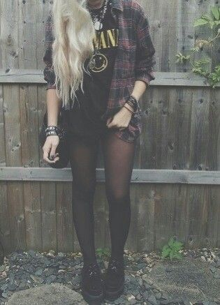 -Checked Shirt -Shirt -Pantyhose -Creepers -Leather Bracelets