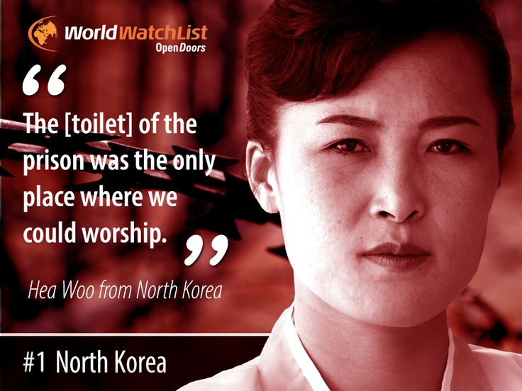 """The [toilet] of the prison was the only place where we could worship."" Hea Woo  For the 14th consecutive year, North Korea remains the worst place to be a #Christian.  Your #faith could cost you imprisonment in labour camps, torture or your life.  Yet, Christians like Hea Woo, find ways to share Jesus' love in the most harrowing of circumstances and worship Him amidst their hardship.  This is how you can #pray for #Christians in #NorthKorea:"