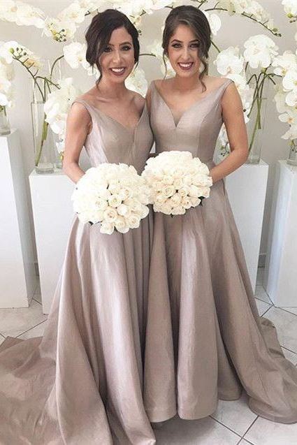 Lovely Dusty Bridesmaid Dresses Brown Bridesmaid Dresses Long Bridesmaid Dresses Simple Bridesmaid Dresses