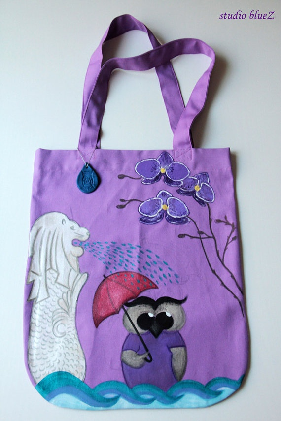 Handpainted Tote Bag  Singapore by zeyc on Etsy