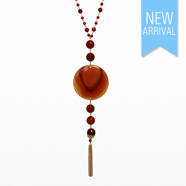 Necklace Carnelian Beads, Tassle set in Yellow Gold #Neckace #NewArrivals #GinaAdornments
