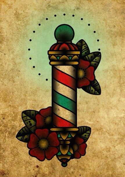 Barber Pole Neo-Traditional Tattoo Flash by BlackMast