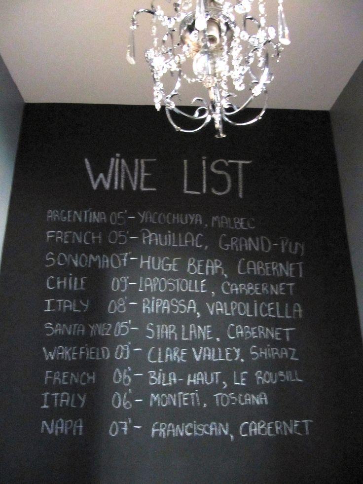 Chalkboard wine wall!