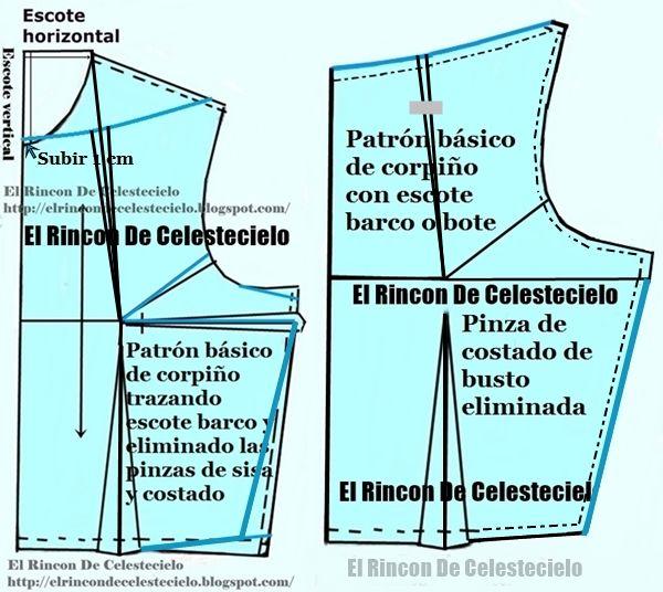 Trazo patrón de corpiño con escote barco y su pinza correctiva